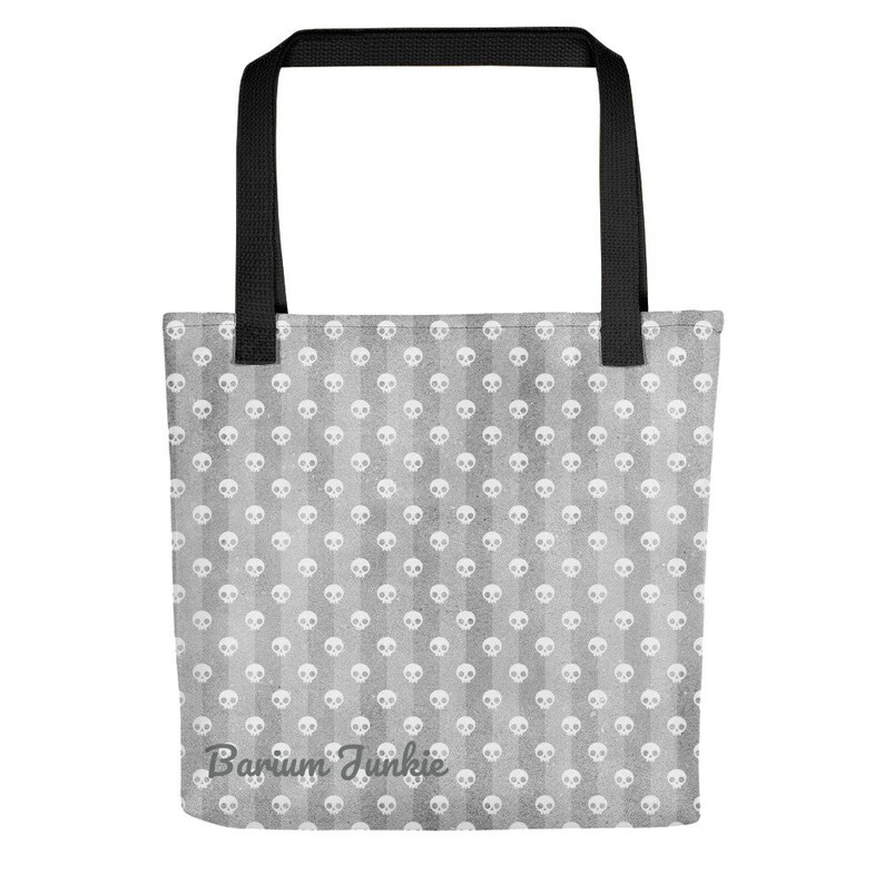 skull bag radiology tech bag x-ray tech bags goth tote bag Gray and White Skulls Tote bag Rad tech bag tote bag rad tech gifts