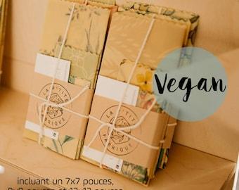 Starter Kit, Three Pack, Food Film, candellila wax Envelopes, Eco-Friendly, Zero Waste, Reusable, Organic, VEGAN