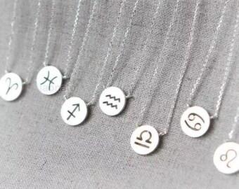 Zodiac sign - minimal silver necklace