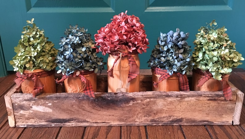 Long wooden box centerpiece best selling items Fits 6 pint jars country wedding table decor barn wood decor wedding centerpiece
