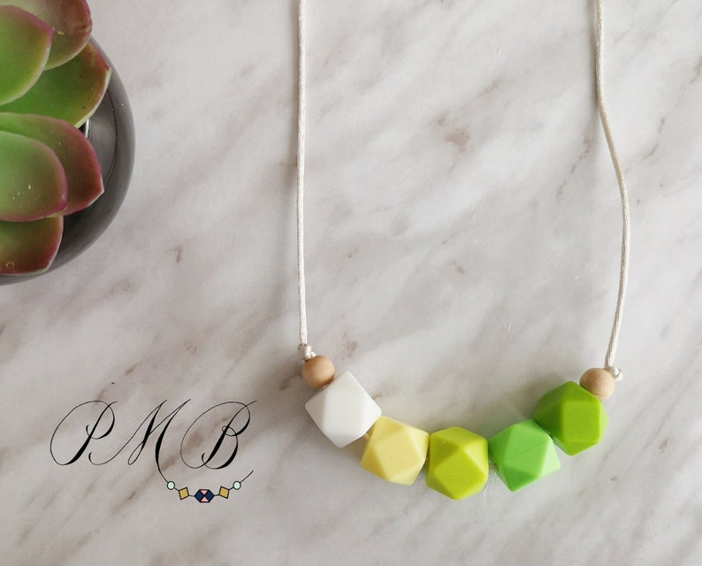 Field  Silicone Teething Necklace Green White Natural Wood  Geometric Beaded Necklace Ready to ship