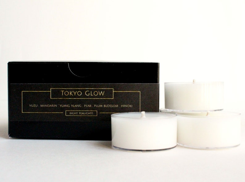 TOKYO GLOW TEALIGHTS - Luxurious Hand Poured Tea Light Candles - Set of 8