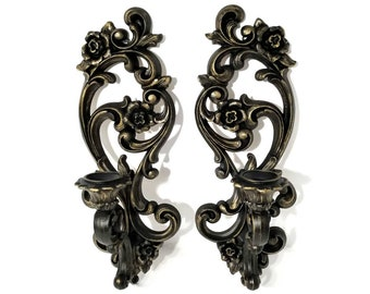 Gothic Victorian Wall Candlesticks, Vintage pair Wall Sconces; Black Candle Holders, Gothic Home Decor
