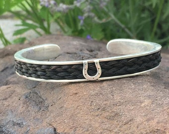 Custom Sterling Silver Cuff Bracelet with Horse Hair Inlay