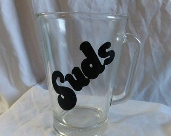 "VINTAGE ""SUDS"" Glass Beer Pitcher - RETRO"