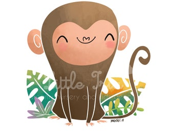 INSTANT DOWNLOAD cute monkey printable art for nursery and kids room. Neutral gender decoration. A3 A4.  Resize Available