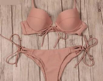 169153d32474d Bikinis Women Swimsuit Push Up Swimwear Bandage Cut Out Bikini Set Halter