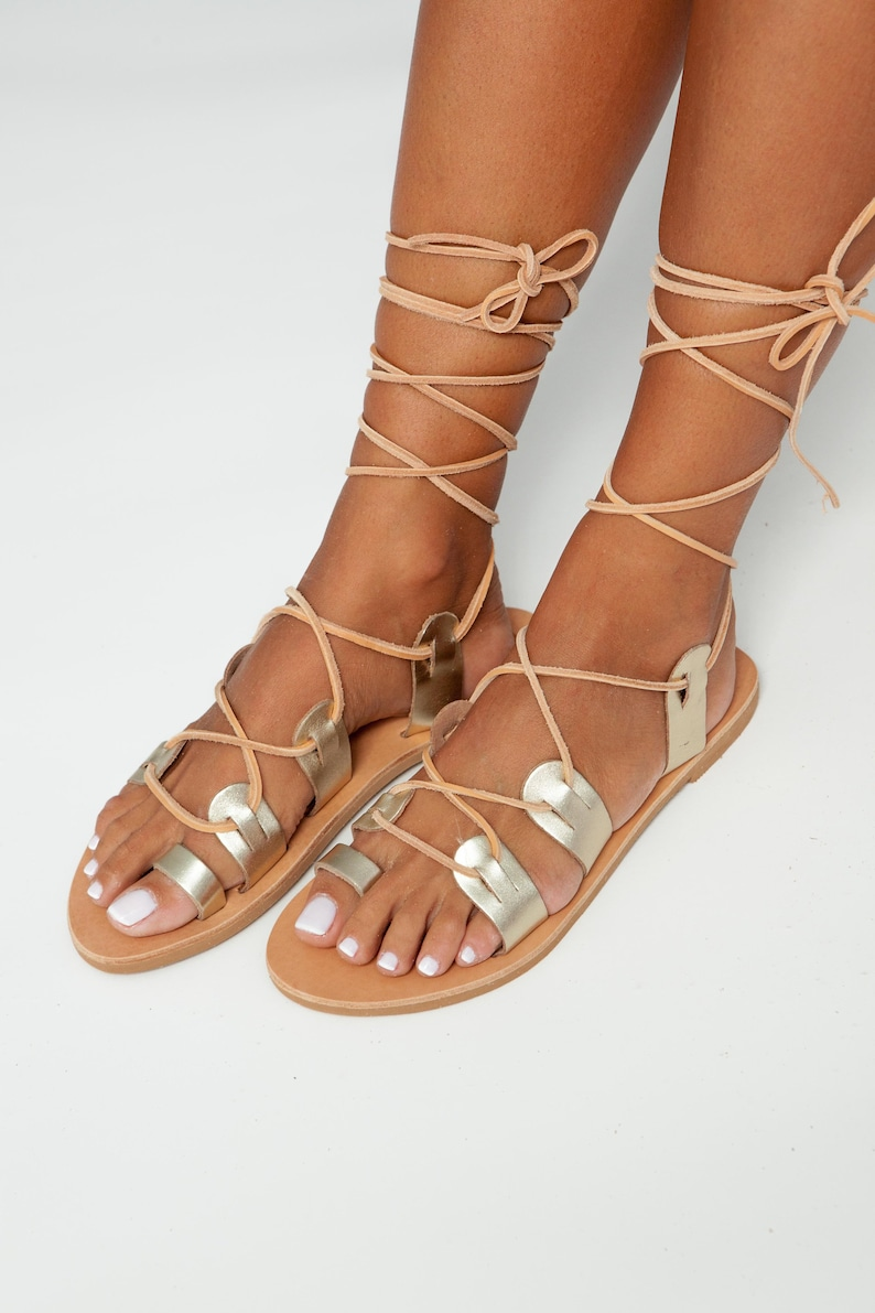 c89503595956 Leather Greek Gladiator Sandals Gold Women Lace up Sandals