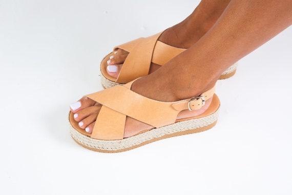 Platform sandalsgreek flatformsgreek leather sandalssummer shoesanklet sandalsnatural leather shoeswomen shoes x cross sandals CORFU