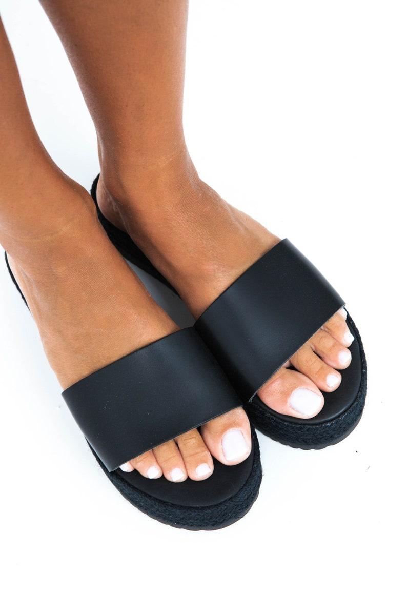 178c0c2e6e7 Black platform sandals greek platforms slip on sandals etsy jpg 794x1191  Platform slip on sandals