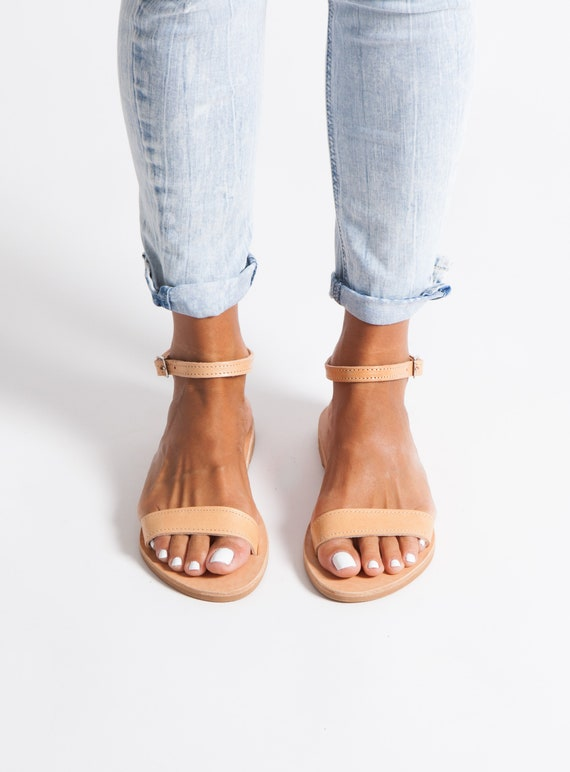 Greek Leather Sandalswomen's sandals classic sandals ankle strap sandals flat sandals handmade grecian sandals elegant sandals ELIA