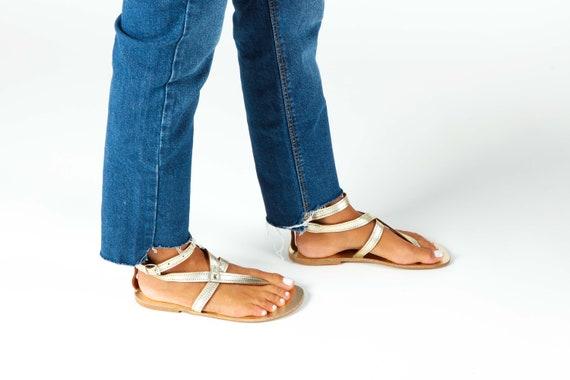 Gold Gladiator Sandals, Handmade Sandals ,Womens Greek Sandals, Flat Sandals, Ankle Strap Sandals, Boho Shoes, Sandales Grecques Femme IRA