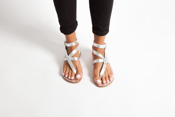 Silver Greek Leather Sandals, Women Classic Sandals, Flat Ankle Cuff Sandals, Ancient Greek Sandals, Griechische Sandalen,Sandales cuir IRA