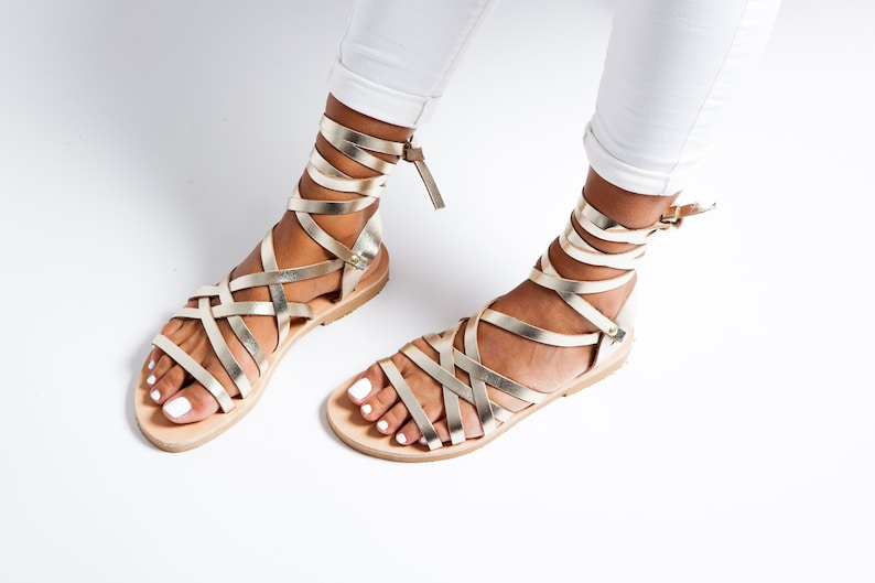 f995a951c8257 Gladiator Gold Greek Leather Sandals Sandales Spartiates