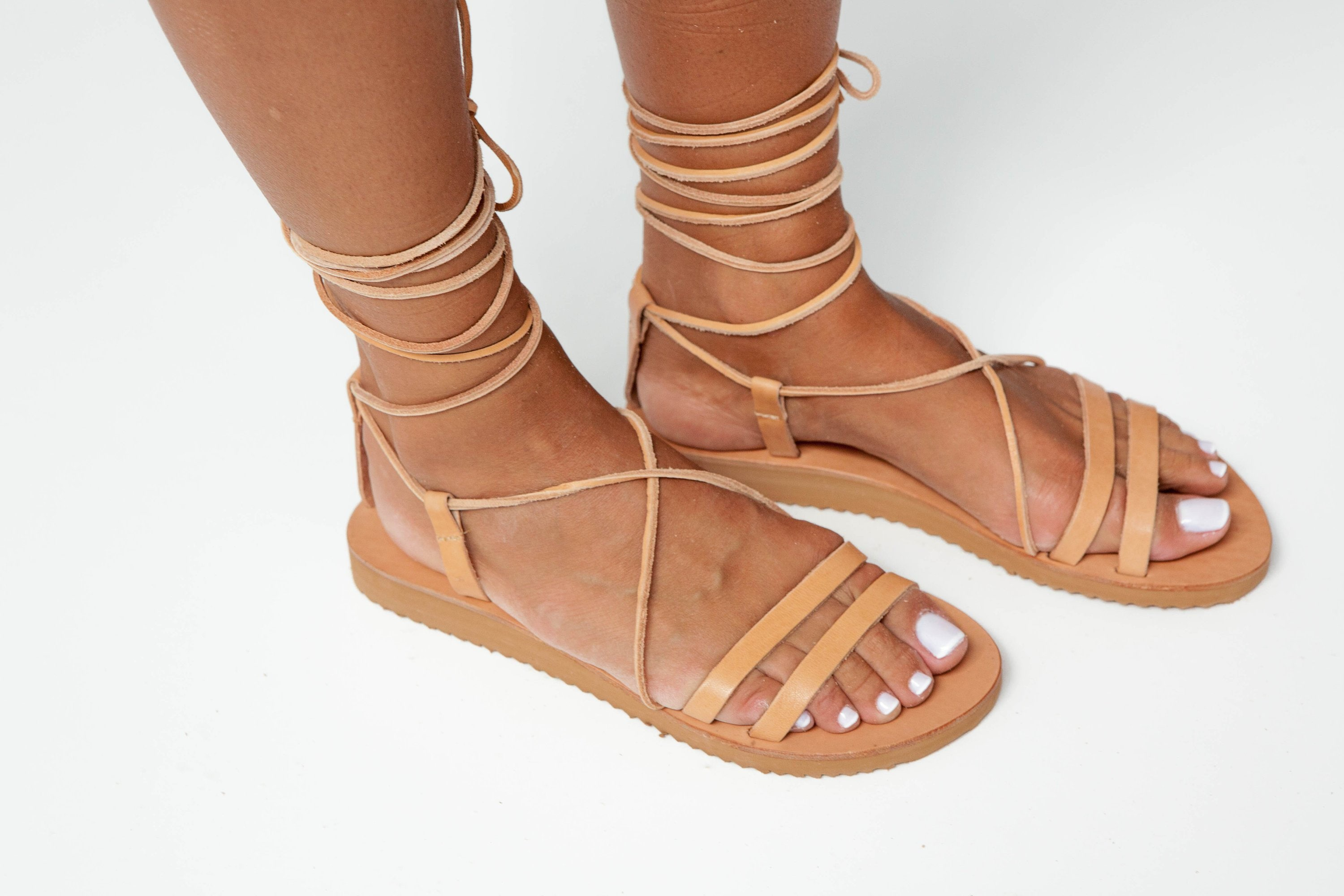 Leather Gladiator Sandals, Ancient Greek Strappy Sandals, Lace up Handmade Gladiators, Women Sandals PAXOS