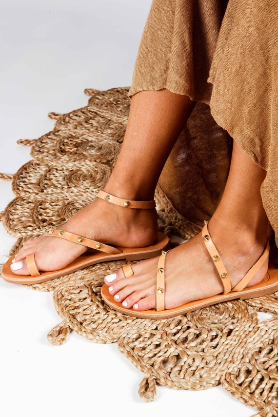 eee0b8b657676 Leather Sandals Greek Sandals Women Sandals with Studs Flat
