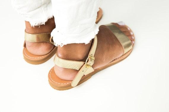 ELOUNDA sandales grec plat or sandales sandales main grec strap fait cheville classique sandales sandales cuir sandales qqdwrC