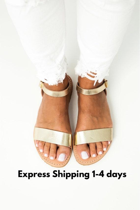 Handmade Shoes EMILIA Sandales Grecques Platform Sandals Greek sandals Women Sandals,Slip on Flat Sandals Leather Sandals Gold Sandals