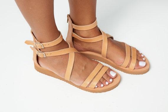sandales femmes Gladiator sandales naturel classic grec sandales Sandales cuir grecques sandals cheville cuff sandales IOS x sandales cross en de plat de HHIzC