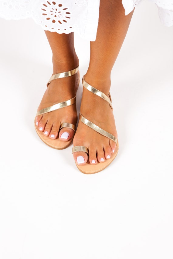 5672bf7e828d25 Leather Sandals Greek GOLD Sandals Women Sandals Classic