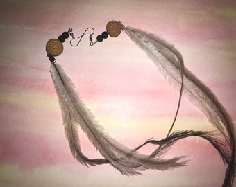 Quandong seeds & Emu Feather Earrings