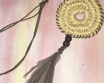 Emu feather and Coiled Weaved Necklace