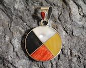 Medicine Wheel Pendant 3 Onyx Shells in 950 Silver Handmade in Peru Unique Jewelry