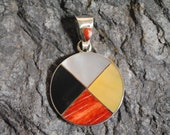 Medicine Wheel Pendant 2 Onyx Shells in 950 Silver Handmade in Peru Unique Jewelry