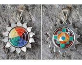 Reversible Sun Pendant Solid 950 Silver Inlaid Stones, Shells Chakana Pachamama