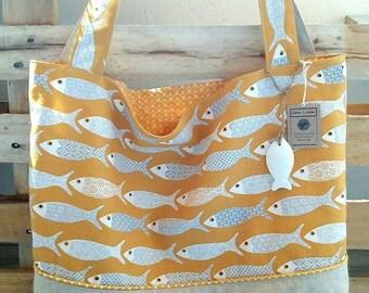 Yellow fish tote bag