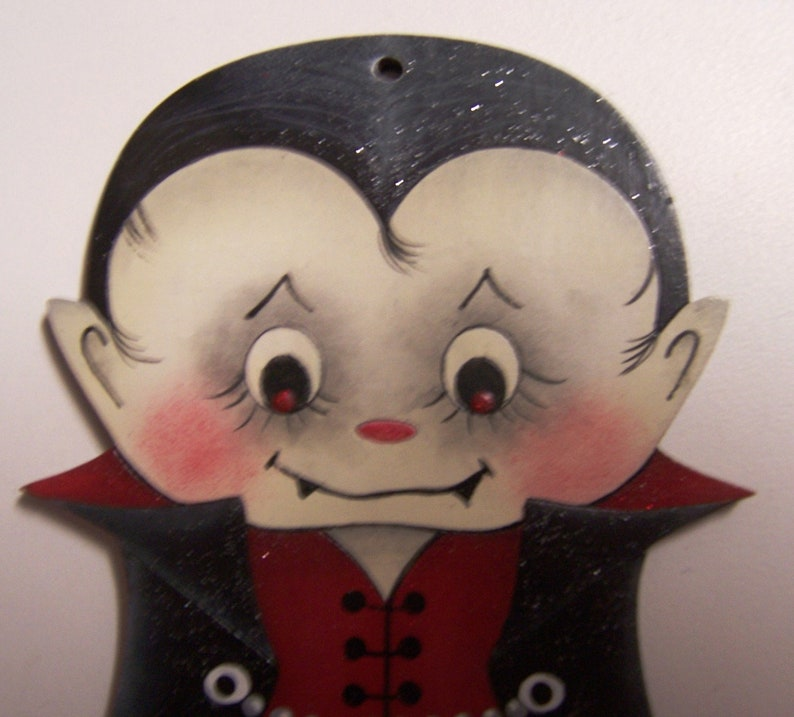 Hand Painted Wood Halloween Ornament Dracula deVine by Jamie Mills-Price