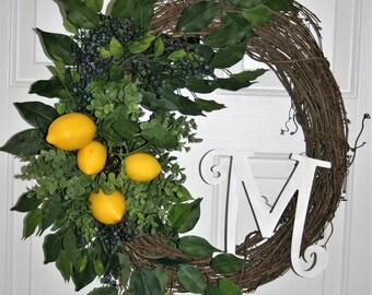 Lemons Wreath  Summer  Wreath  Bluebery  Wreath Lemon Boxwood Wreath Monogramm Wreath