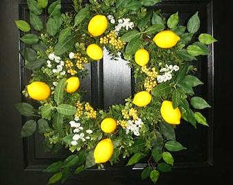 Summer Wreath, Lemon Wreath, Front Door Wreath, Lemons and Berries Wreath, Yellow lemons  Wreath, Boxwood and Lemons