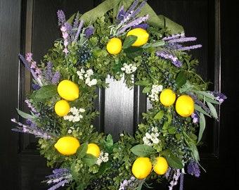 Summer Wreath, Lemon Wreath, Front Door Wreath, Lemons and Blueberry Wreath,   Lavender Wreath, Boxwood and Lemons