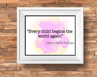 Thoreau Baby Quote Pink Downloadable, Printable Quote Art