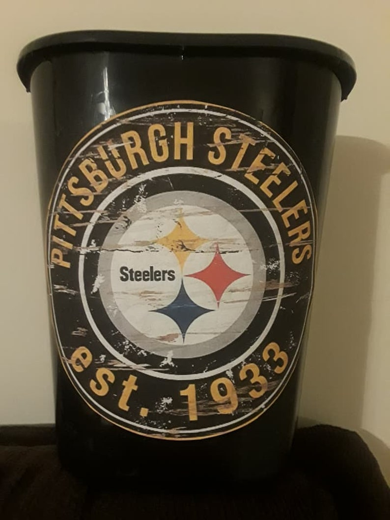 7f334a52 Vintage Pittsburgh Steelers Trash Can Bathroom Laundry Man Cave NFL  Football Father's Day Gift