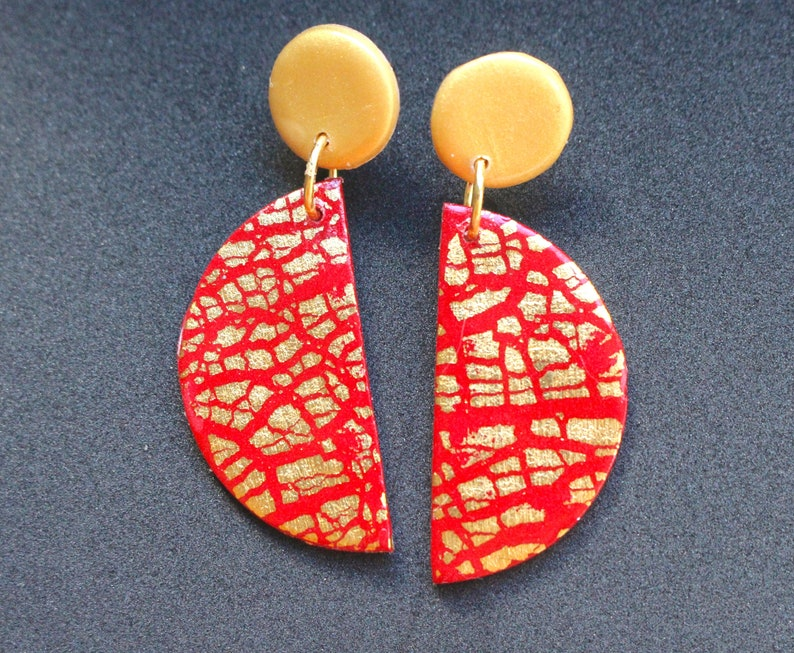 Clay Push back Valentine Statement  Earring Red And Golder Half MoonHalf Circle Dangle stud earrings,Dangle stud earrings Modern earrings