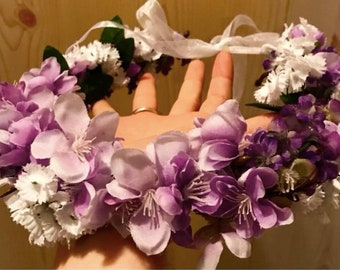 Purple, White, and Pearl Accent Flower Crown