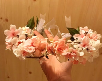 Pink, White, and Pearl Accent Flower Crown