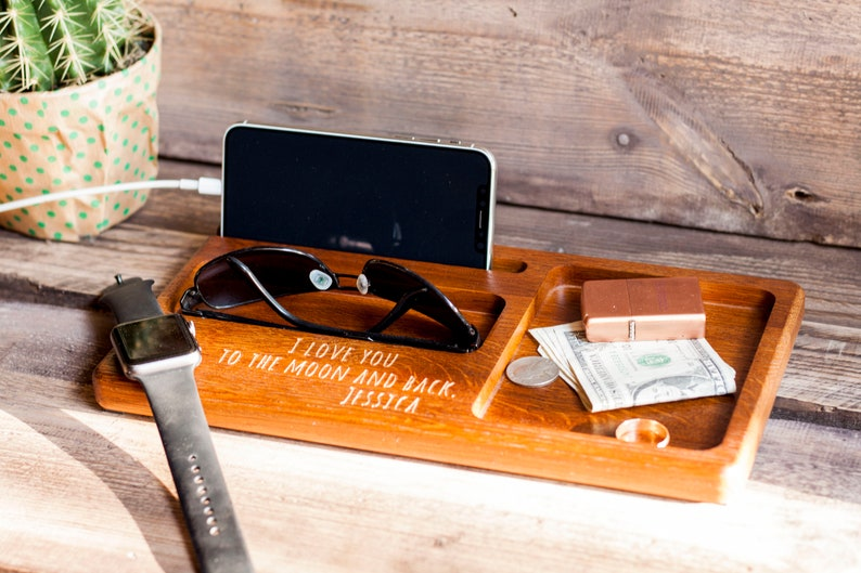 Unique Personalized headphone stand docking station Eco friendly wood mens gift Ideas for boyfriend Anniversary gifts Engraved Charging Dock