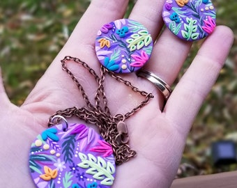 Purple and White Pendant and Earring Set Original Hand-painted Blue