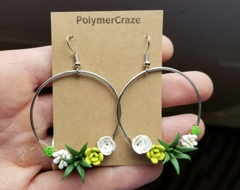 Polymer clay succulent hoop earrings, succulent earrings, succulent jewelry, succulent gift for her, birthday gift, plant lover gift, hoops