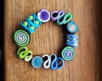 Handmade polymer clay colorful bead variety stretch bracelet