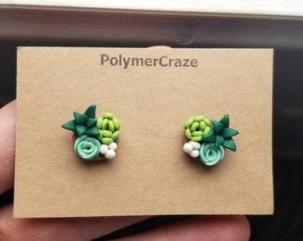 Handmade polymer clay succulent stud earrings, succulent stud earrings, succulent jewelry, succulent earrings,  her succulent gift