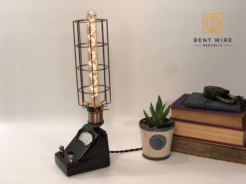 Deep burgundy red Upcycled Edison Spiral Lamp Vintage Welch Scientific Co
