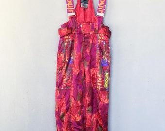 Vintage 90s Goldwin Chilout Bib Ski Pants Wear Overalls Multicolor Racing Fashion Size Medium