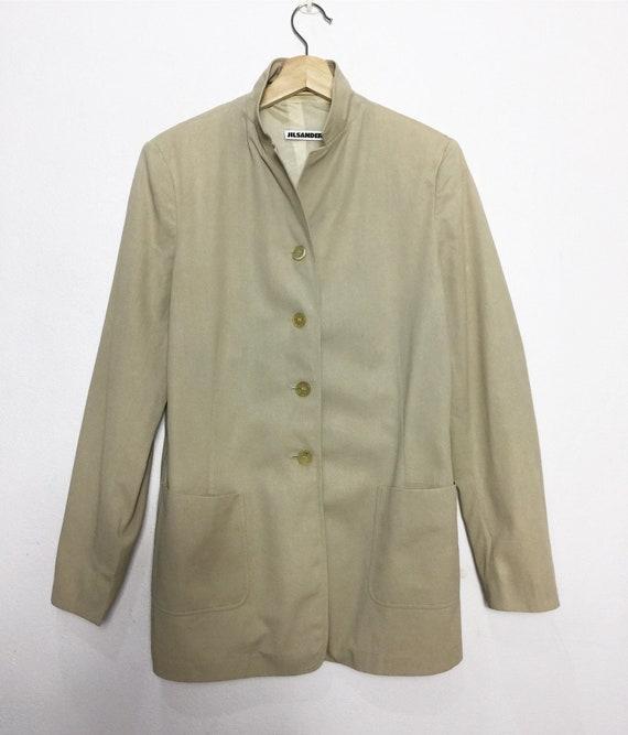 90s JIL SANDER linen silk pastel pink salmon short sleeved long blazer  v-neck