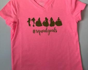 Girl's V-Neck Princess Squad Goals T-Shirt | Gift | Party Favor