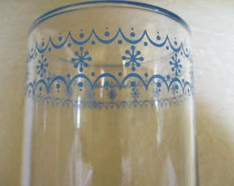 3 Vintage Drinking Glasses with Blue Detail