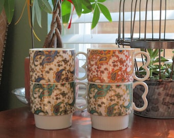 Vintage Paisley Stacking Coffee Mugs set of 4